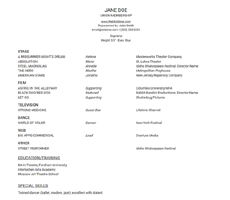 acting resume templates stageagent